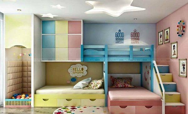 Giường tầng sẽ giúp phòng ngủ được tận dụng triệt để không gian