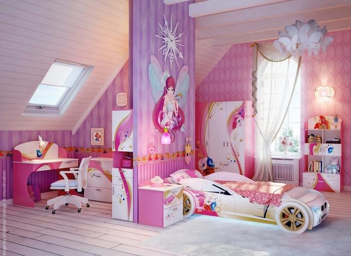 Phòng ngủ cho bé cực hiện đại với điểm nhấn là nàng tiên trên vách ngăn cách