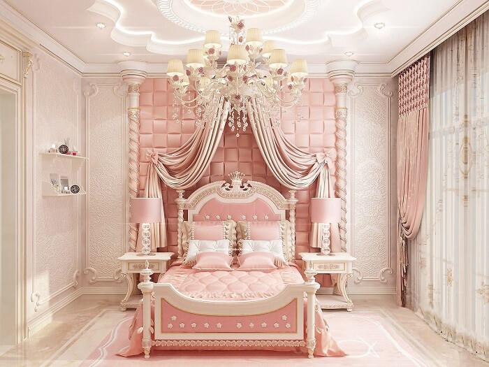 Giường ngủ và rèm phòng cách hoàng gia dành cho bé gái
