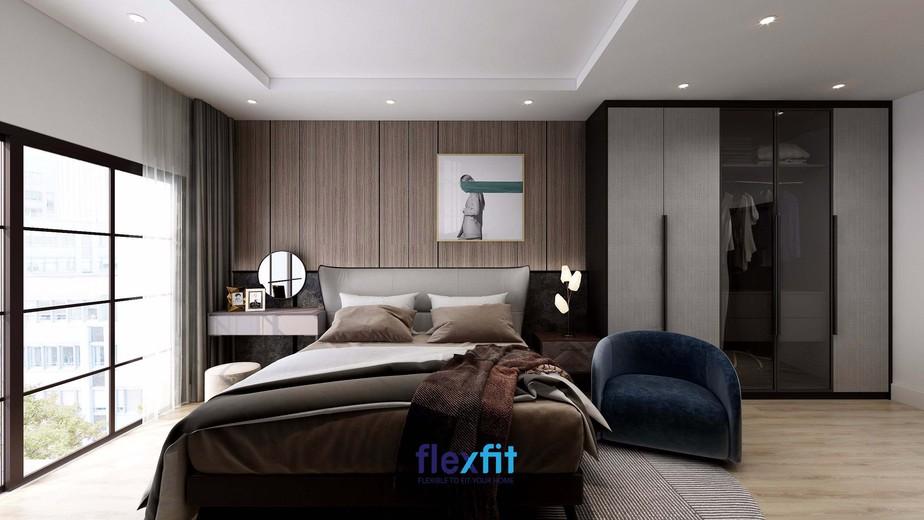 Thay vì sử dụng tường sơ trắng, những mảng tường ốp gỗ đẹp mắt kết hợp với những gam màu trầm cổ điển giúp căn phòng trở nên vintage, độc đáo và có sức hấp dẫn lạ kỳ.