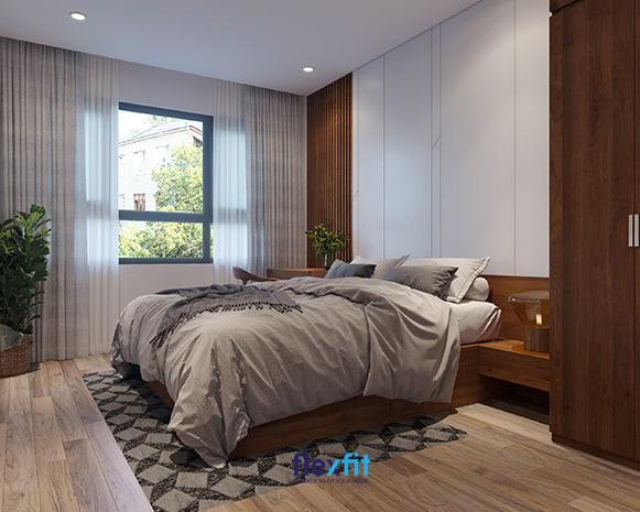 Hai tông màu chủ đạo được sử dụng triệt để là trắng - nâu gỗ giúp mang lại vẻ đẹp trầm, ấm cho toàn bộ căn phòng. Thảm trải sàn với họa tiết hình học vintage giúp không gian trở nên hoàn hảo hơn.