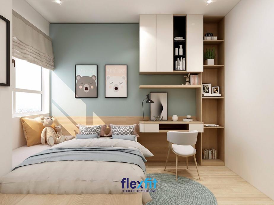 Sự kết hợp giữa các màu sắc nổi bật trắng - xanh - nâu gỗ sáng giúp căn phòng trở nên trẻ trung, hiện đại rất phù hợp với các bé. Tủ kệ tích hợp bàn học thiết kế nhỏ gọn đáp ứng được nhu cầu học tập, để sách vở, vật trang trí, lại tiết kiệm diện tích phòng.