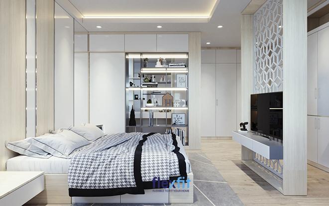 Đối với những căn phòng có diện tích rộng, việc tạo thêm những bức tường trang trí hay lựa chọn những chiếc tủ có thiết kế các ô thoáng trang trí sẽ giúp bạn tạo nên vẻ đẹp hoàn mỹ cho căn phòng của chính mình.