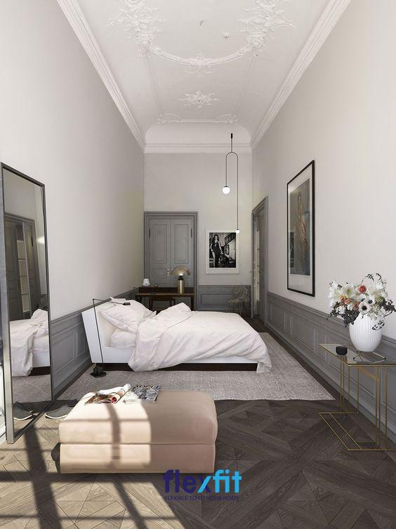 Những gam màu sáng đơn sắc: trắng, ghi không chỉ giúp mang lại vẻ đẹp thanh lịch, sang trọng mà còn giúp căn phòng của bạn trở nên thoáng và rộng rãi hơn.