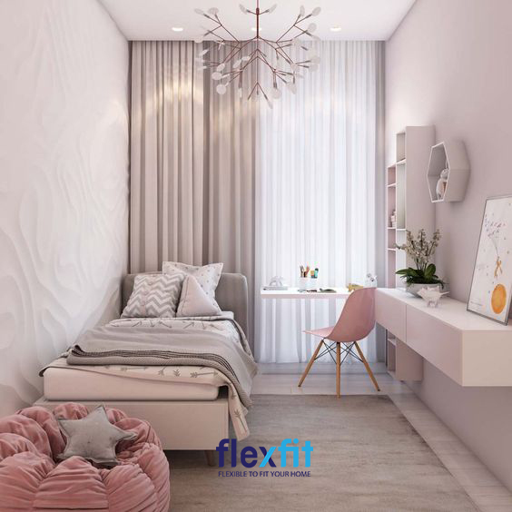 Đối với những căn phòng ngủ dài và hẹp, nội thất gắn tường chính là sự lựa chọn thông minh và khôn khéo nhất.