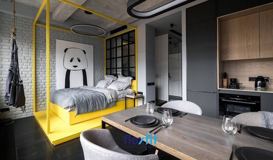 Phòng ngủ với gam màu xám chủ đạo, điểm nhấn là màu vàng ở khu vực giường ngủ cũng đủ đem lại không gian độc đáo