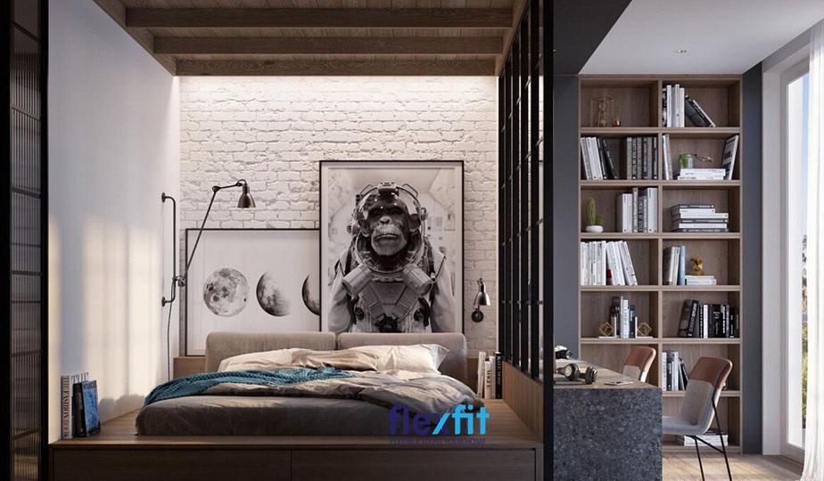 Mẫu phòng ngủ cho nam ấn tượng, nhìn vào có thể đoán biết phần nào sở thích của chủ nhân - một con người yêu khám phá thế giới, vũ trụ