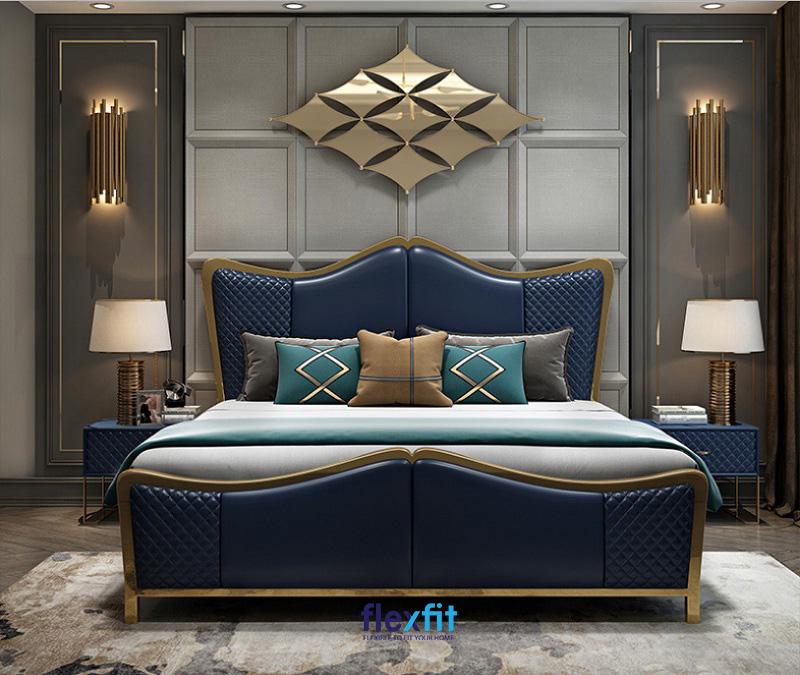 Vô cùng sang trọng với phòng ngủ theo phong cách tân cổ điển kết hợp gam màu xanh đậm và họa tiết hình học độc lạ