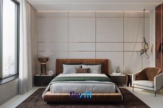 Bạn có thể bố trí thêm tab đầu giường, ghế bành… để làm tăng vẻ đẹp hiện đại cho không gian riêng của mình