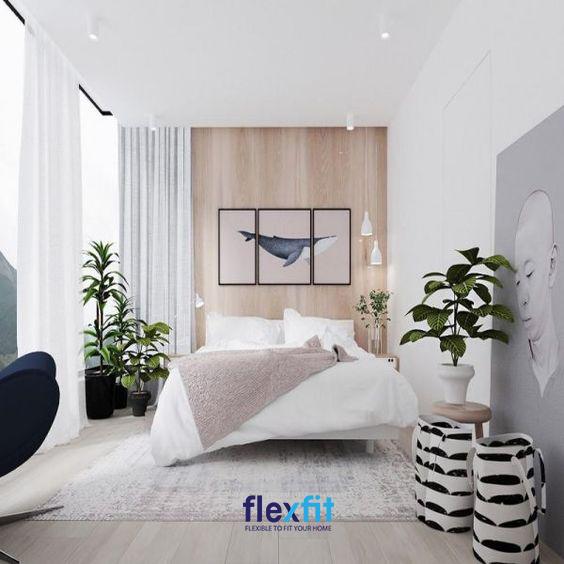 Thiết kế căn phòng đã tận dụng triệt để các bức tường để tạo ra không gian trang trí đầy độc đáo, mới lạ cho căn phòng