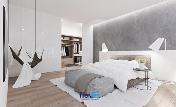 Nội thất trắng khéo léo kết hợp với các đồ nội thất khác có tông màu đối lập: đen, xám giúp tăng tính thẩm mỹ và tạo điểm nhấn cho không gian