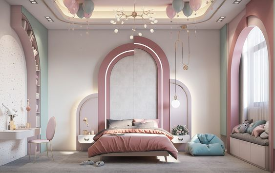 Không gian phòng ngủ giống như trong câu chuyện cổ tích của những nàng công chúa với sự pha phối các gam màu hồng, xanh, trắng pastel