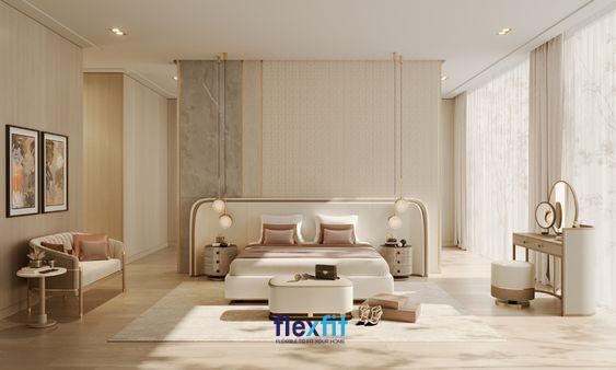 Không gian trở nên lung linh, ấm áp mà không kém phần sang trọng, đẳng cấp nhờ việc sử dụng các nội thất màu be