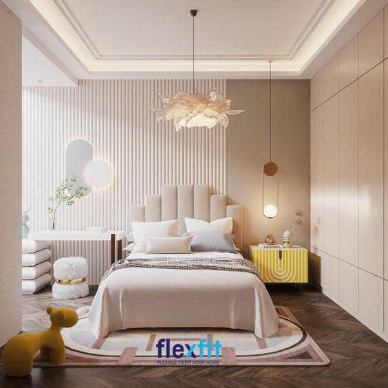 Nếu bạn là cô gái yêu thích sự nhẹ nhàng thì thiết kế phòng ngủ đẹp cho nữ này rất đáng để tham khảo