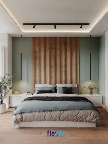 Sử dụng cây xanh trong phòng kết hợp với các sắc xanh dịu nhẹ mang tới cho căn phòng vẻ đẹp tươi mát và không kém phần cá tính