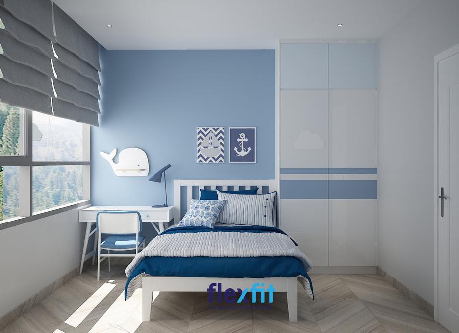 Gam màu xanh dương và trắng khiến căn phòng trông thoáng mát