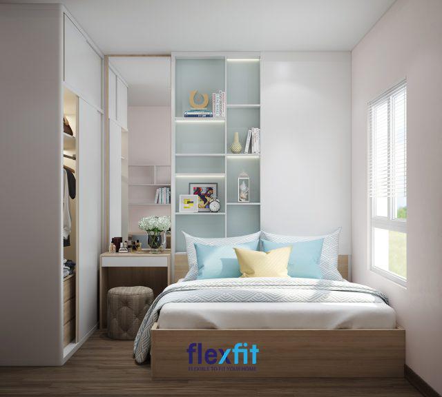Sử dụng hệ tủ âm sau đầu giường để bày đồ trang trí