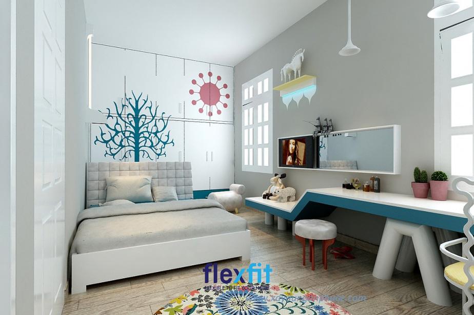 Tô điểm thêm một chút sắc màu giúp căn phòng 9m2 trở nên sinh động hơn và gọn gàng với nội thất đa năng