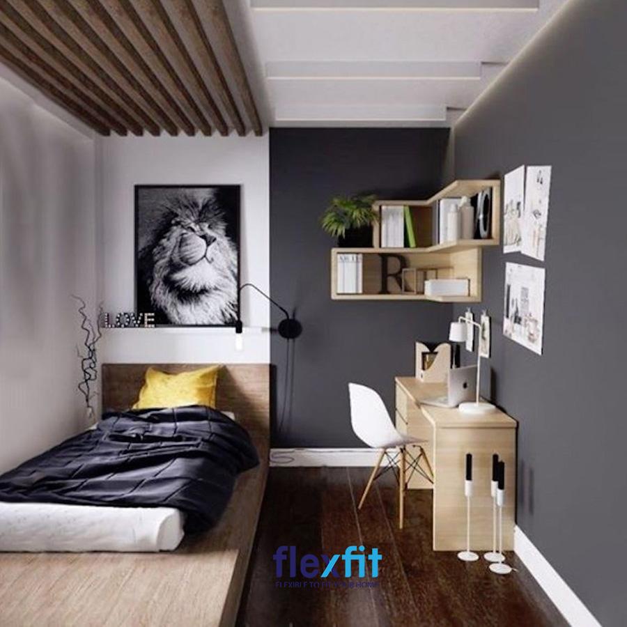 Phòng ngủ chỉ 6m2 nhưng vẫn đảm bảo là nơi nghỉ ngơi thoải mái nhờ tối giản nội thất và khai thác chiều dài căn phòng