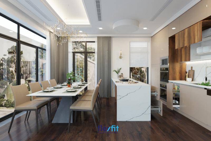 Với những căn bếp có diện tích rộng lớn, bạn có thể sử dụng bàn chữ nhật 8 chỗ ngồi giúp tăng sức chứa cũng như tránh cảm giác trống rỗng cho căn bếp.