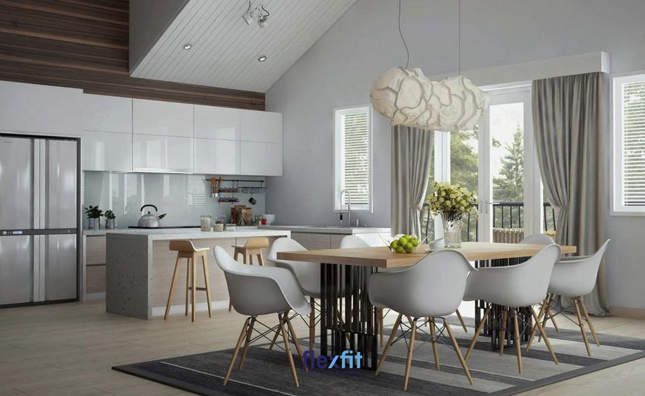 Căn bếp sở hữu thiết kế hiện đại với những đường nét phóng khoáng mang lại vẻ đẹp tinh tế, tự nhiên.
