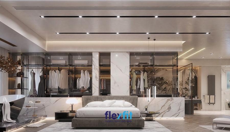 Phòng ngủ master đầy thông minh, tiện nghi với nội thất gỗ công nghiệp