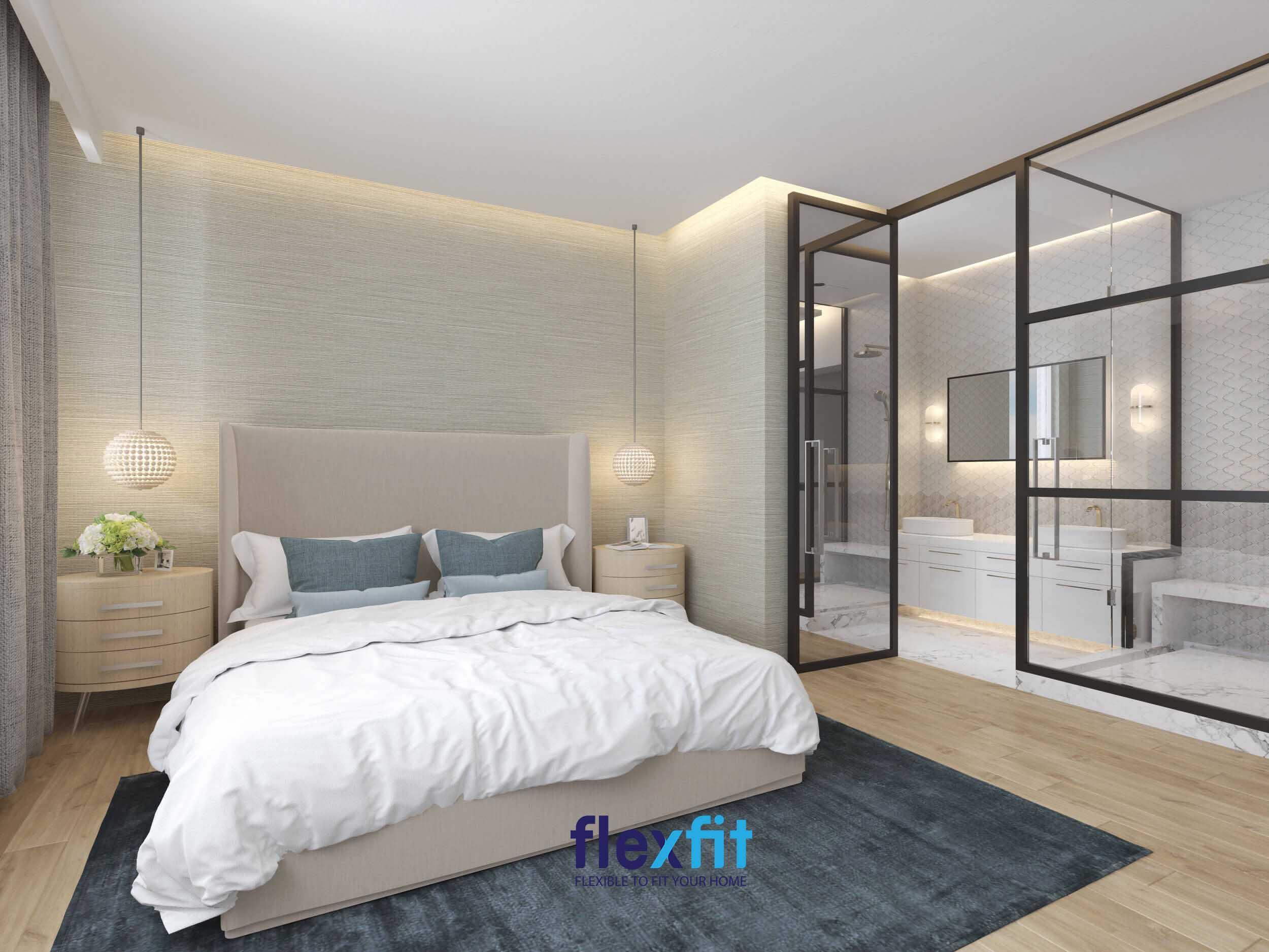 Nội thất phòng ngủ Master bằng gỗ công nghiệp với tông màu trắng đầy nhã nhặn