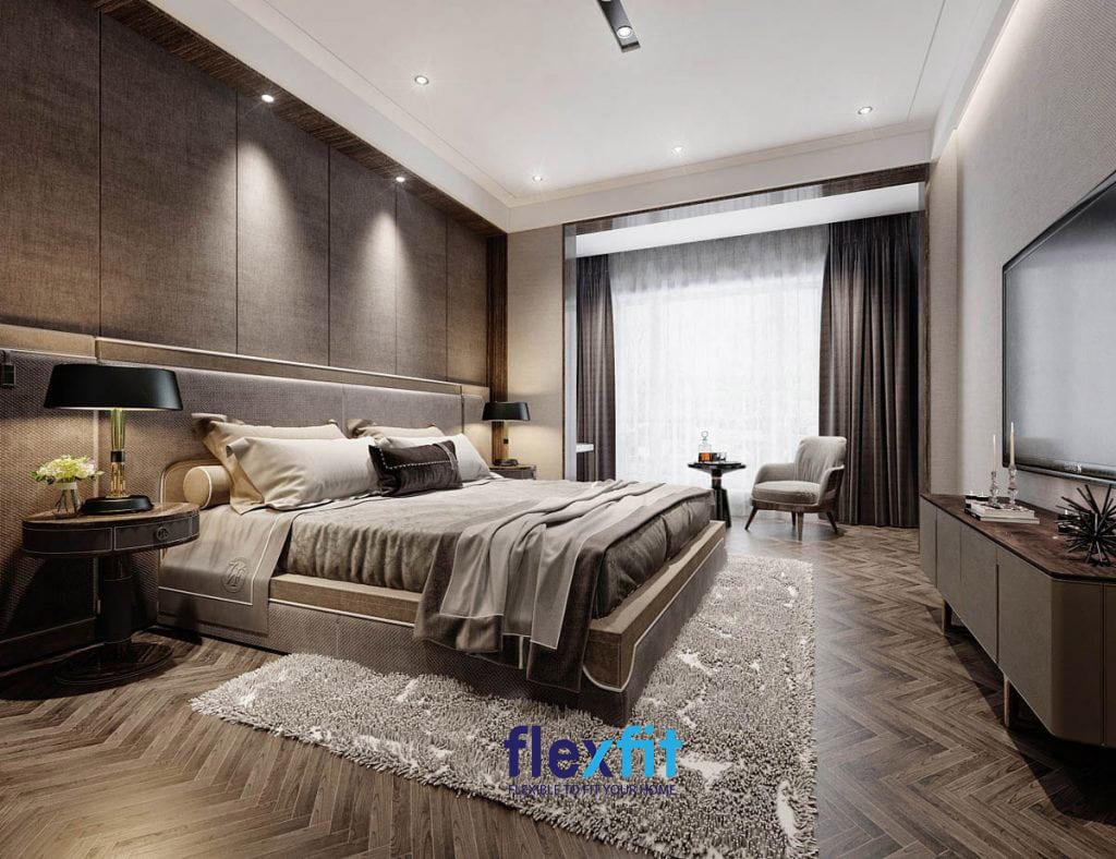 Phòng ngủ master với tông màu nâu gỗ chủ đạo vô cùng sang trọng