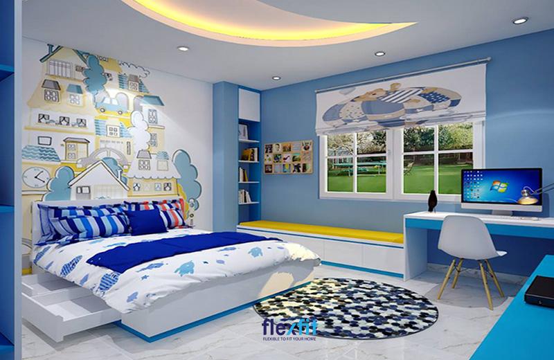 Căn phòng được bố trí đầy đủ nội thất nhưng vẫn tạo ra khoảng không vui chơi riêng cho bé.