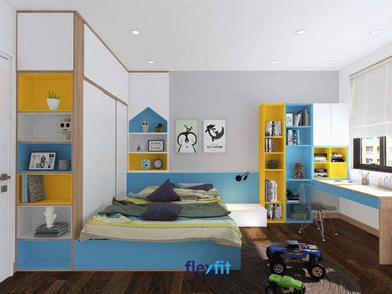 Các mẫu nội thất thông minh giúp tiết kiệm không gian hiệu quả nên giúp bé có thêm nhiều không gian để vui chơi.