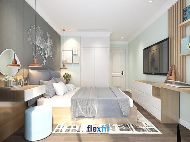 Sự hòa ca giữa xám thanh lịch, xanh pastel dịu mát, trắng tinh khôi và nâu vân gỗ sáng tự nhiên sẽ tạo nên một căn phòng ngủ hiện đại tươi sáng, dễ chịu và thư thái