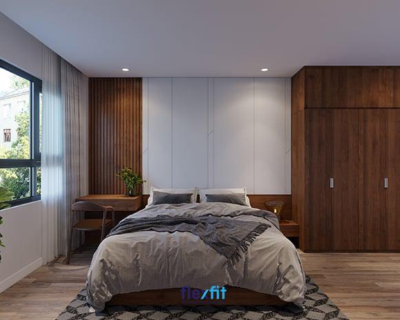 Tuy các đồ nội thất chỉ làm từ chất liệu gỗ công nghiệp nhưng nhờ lớp vân gỗ trông giống như thật mà căn phòng ngủ trông sang trọng, đẳng cấp hơn