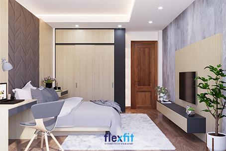 Các đồ nội thất như giường, tủ, bàn làm việc, kệ tivi thiết kế hình khối với những đường nét đơn giản, khỏe khoắn giúp mang đến vẻ đẹp nhẹ nhàng, mạnh mẽ cho căn phòng