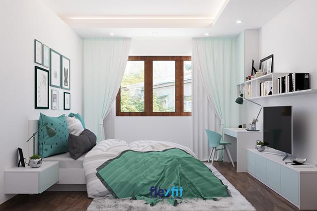 Tông màu trắng tinh khôi, trung tính được chọn làm tông màu chủ đạo của phòng ngủ hiện đại, thiết kế đơn giản giúp không gian đồng nhất, tươi sáng, rộng thoáng hơn