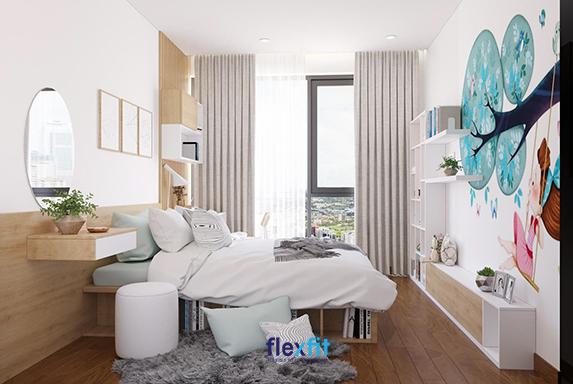 Sử dụng rèm cửa bằng vải mềm mại kết hợp thảm lông mượt mà, mang sắc xám nhạt nhã nhặn sẽ giúp căn phòng ngủ càng thêm sang trọng, thanh lịch