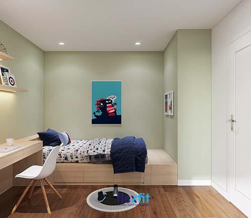 Giường ngủ, bàn học và tủ quần áo được sắp xếp một cách khoa học, giúp căn phòng trở nên ngăn nắp, gọn gàng.