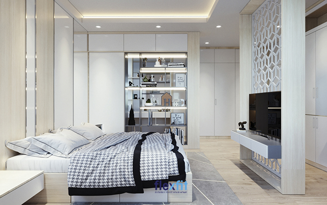 Nếu muốn ngăn cách không gian ngủ với không gian lưu trữ đồ bên ngoài, sử dụng vách tường hoa gió bằng gỗ là một ý tưởng khá hay. Bức tường vừa giúp tăng vẻ đẹp tinh tế, duyên dáng vừa đảm bảo sự thông khí và ánh sáng