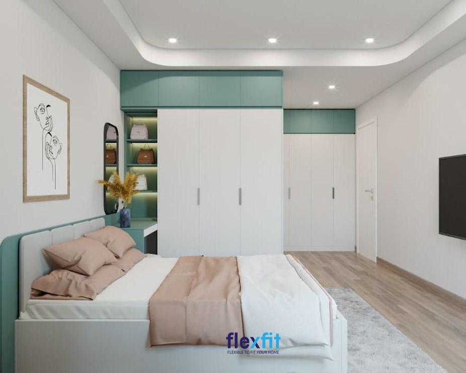 Bên cạnh việc để cho gỗ công nghiệp có màu gỗ tự nhiên như vật liệu lát sàn, bạn có thể sơn màu xanh ghi nhạt và trắng tinh khôi cho gỗ và đóng thành giường ngủ, bàn trang điểm, tủ quần áo để căn phòng trông sáng sủa, nhẹ nhàng, dịu mát hơn
