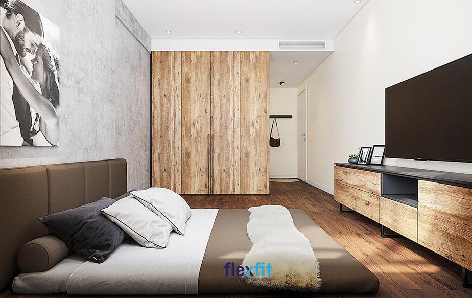 In rõ vân gỗ, mắt gỗ trên bề mặt gỗ công nghiệp và dùng vật liệu này để lát sàn, làm tủ quần áo, kệ tivi sẽ mang đến vẻ đẹp tự nhiên, mộc mạc, gần gũi cho phòng ngủ