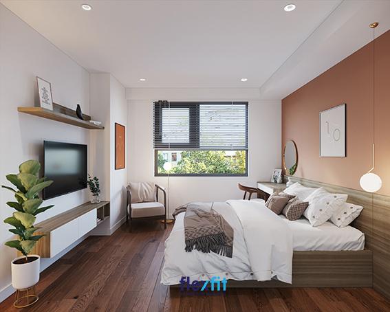 Phối màu trắng tinh khôi, cam đất ấn tượng, nâu mộc mạc, điểm thêm sắc đen sang trọng và sắc xanh mát lành của cây cối sẽ giúp căn phòng ngủ của bạn trông tươi mới, ấm áp và gần gũi với thiên nhiên hơn