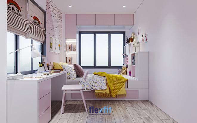 Căn phòng ngủ của bé gái không thể thiếu đi màu hồng pastel công chúa mơ mộng. Thêm cả sắc trắng sẽ giúp căn phòng càng thêm tươi sáng, lãng mạn và thu hút hơn