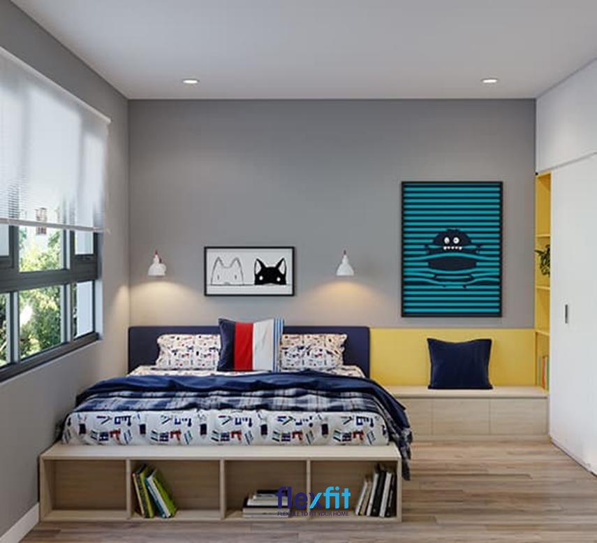 Tủ quần áo được thiết kế nối liền với ghế ngồi, giường ngủ kết hợp với các màu sắc vàng, tím than, đỏ, nâu gỗ sáng bắt mắt tăng thêm tính tiện ích cho phòng ngủ của trẻ và gây ấn tượng thị giác mạnh mẽ