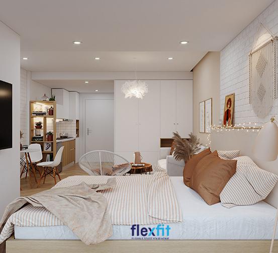 Nếu căn hộ của bạn có diện tích hạn chế, hãy thử sử dụng tủ quần áo kịch trần, kệ trang trí lửng làm thành vách ngăn tiện ích như thế này