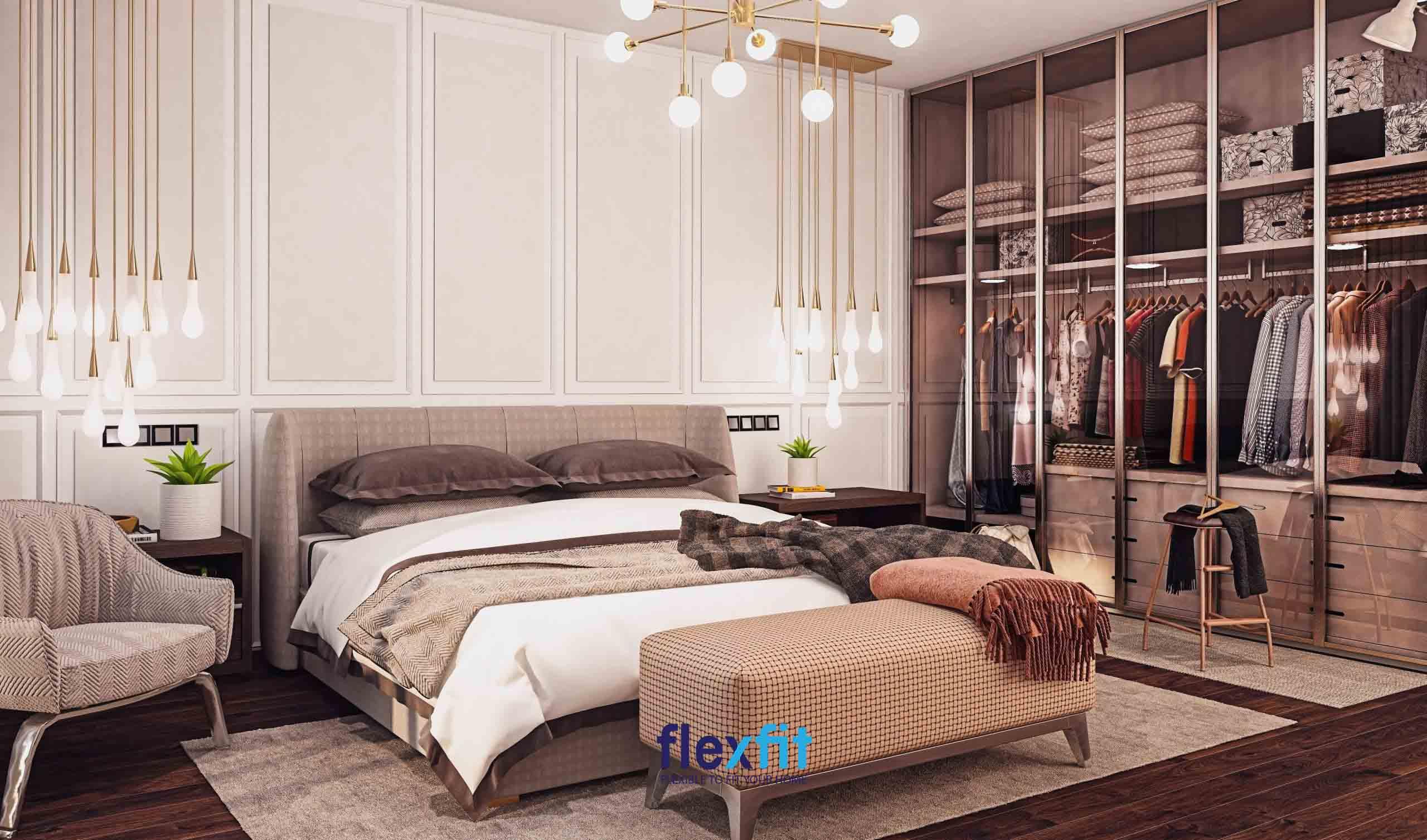 Tông màu nâu nhạt được chọn làm tông màu chủ đạo của phòng ngủ mang đến vẻ đẹp bình dị, thân thuộc và cảm giác ấm áp, thư thái cho chủ nhân căn phòng