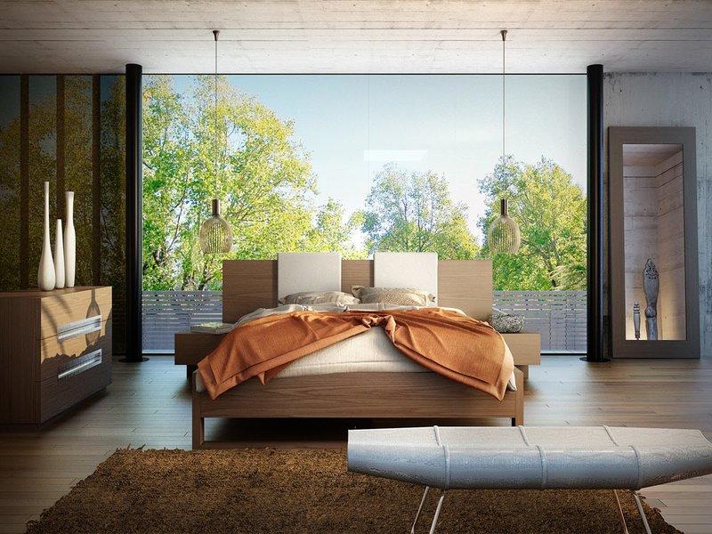 Giường thấp màu nâu gỗ gợi liên tưởng đến các loại đệm Futon truyền thống của Nhật và ghế ngồi hình thuyền, họa tiết đốt tre độc đáo là những điểm nhấn ấn tượng trong căn phòng ngủ này