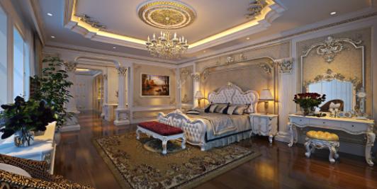 Sự phối hợp hài hòa, đồng bộ của kiểu dáng và tất cả các chi tiết trang trí trên những món đồ nội thất làm cho căn phòng ngủ thêm sang chảnh, quý tộc