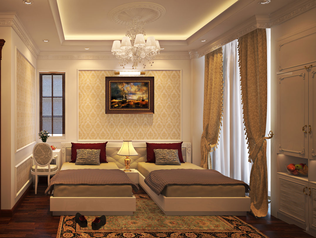 Gam màu vàng nhạt đến từ các món đồ nội thất và màu nâu của sàn gỗ mang đến cảm giác cao cấp, ấm cúng và thư thái cho chủ nhân căn phòng