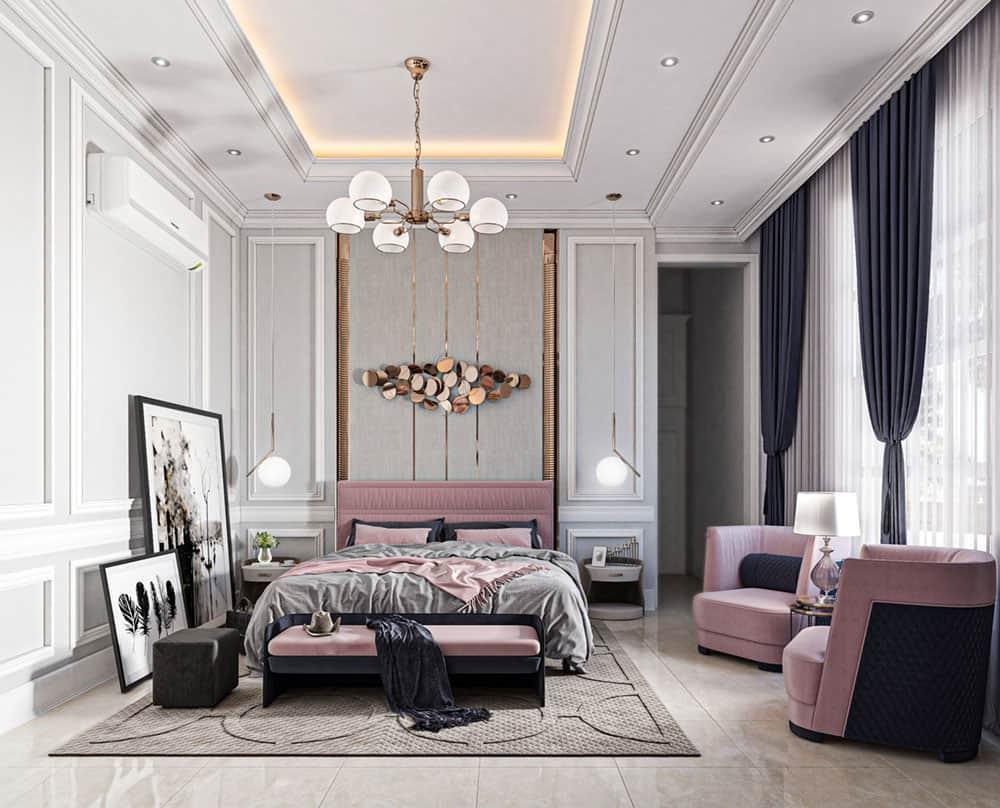 Sự trung hòa giữa các gam màu nhẹ nhàng, lịch lãm và sự phối hợp giữa các món đồ nội thất tiện nghi đã làm nên tổng thể phòng ngủ hài hòa