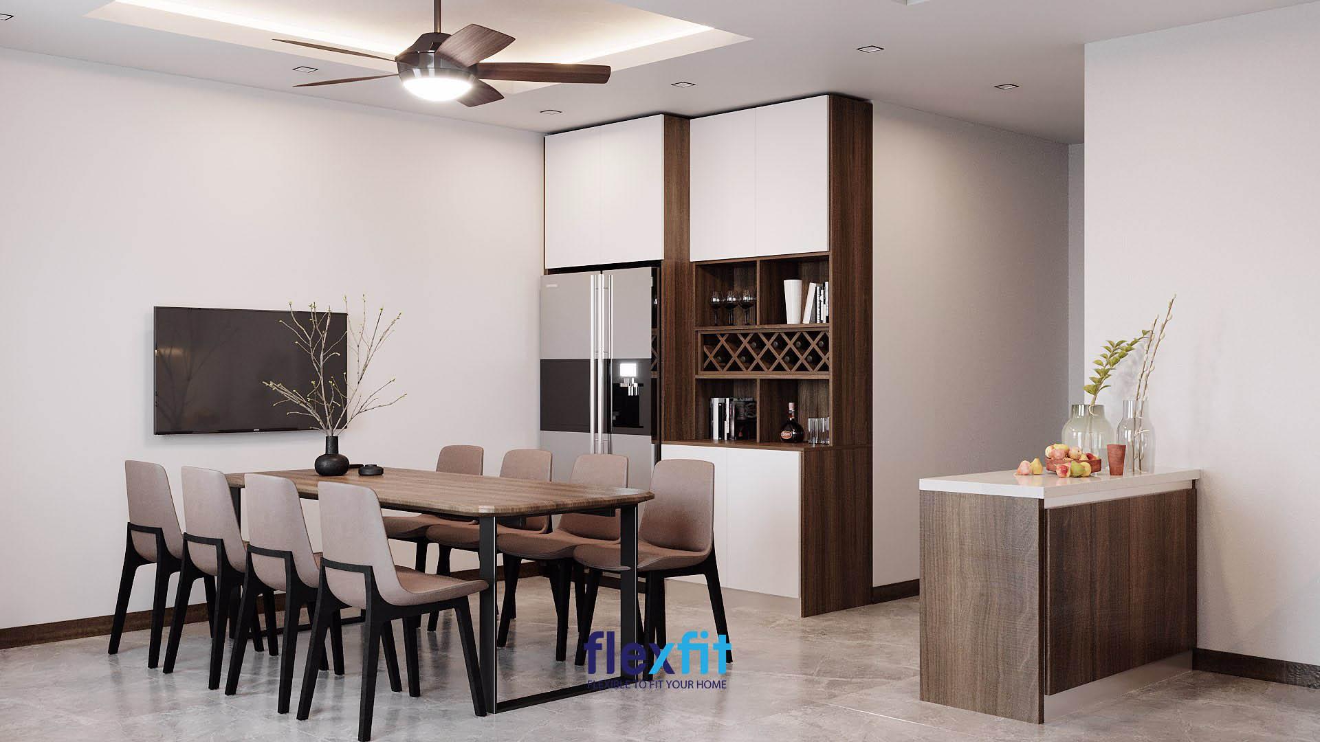 Nâu là sắc màu phù hợp với mệnh Mộc khi thiết kế không gian bếp.