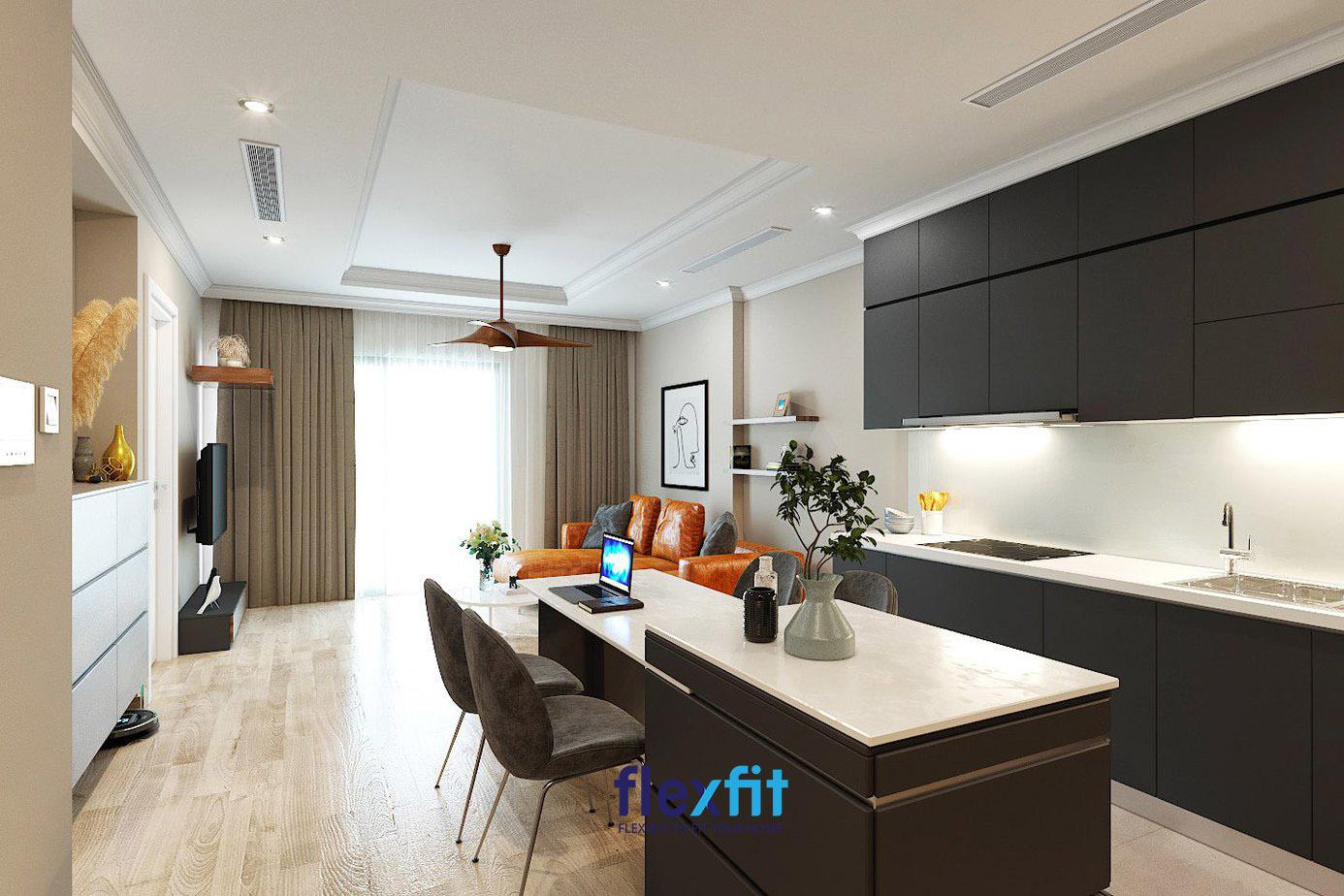 Căn bếp nội thất gỗ đen sang trọng thuộc dự án Park Hill Time City.